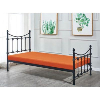 черно метално единично легло